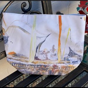 John Hardy Large Watercolor Canvas Leather Bag.